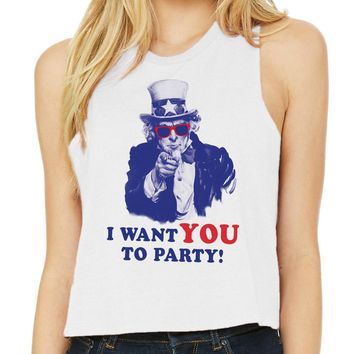 I Want You to Party Tank Top Racer Crop