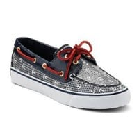 Sperry Women's Bahama 2-Eye, Navy Anchors/Navy (Sequins)-6
