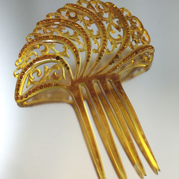 Art Deco Apple Juice Bakelite Rhinestone Mantilla Hair Comb - Vintage 1920s