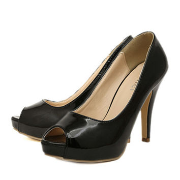 Thin Shoes High Heel Peep-toe   black  35