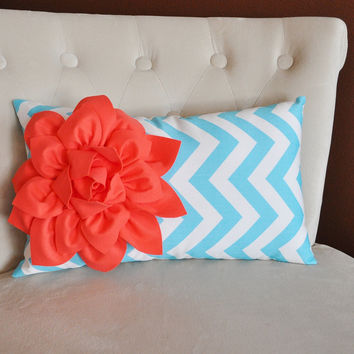 Decorative Nursery Pillow Coral Flower on Aqua Chevron Lumbar Pillow