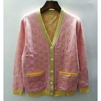 GUCCI Fashion Women Casual Letter Print Button Knit Pocket Cardigan Jacket Coat Pink