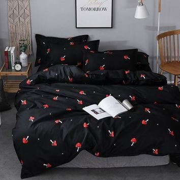 Cool Color fixed USA single queen king duvet cover sets 2/3pcs one set microfiber bedding set mushroom black quilt cover setAT_93_12