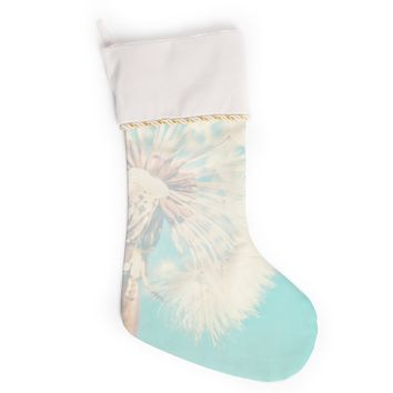 "Sylvia Coomes ""Aqua Dandelion"" Photography Floral Christmas Stocking"