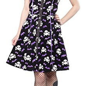 Sourpuss Peggy Bare Bones Bats Skulls Dress