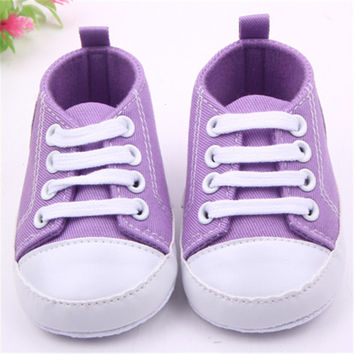 Brand New Cute Infant Comfortable Toddler Baby Boy Girl Sneaker Frenulum Canvas shoes Antiskid Soft Bottom Baby Shoes 14Colors