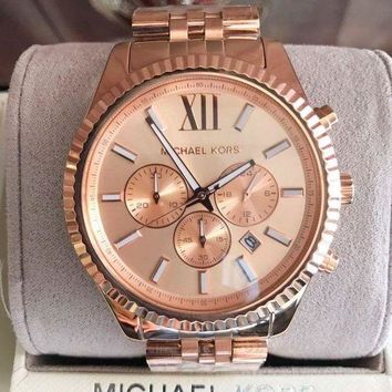 ICIK4S2 Michael Kors Lexington Chronograph Rose Dial Rose Gold-plated Mens Watch MK8319