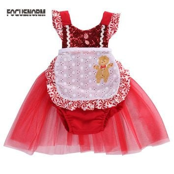 Baby Girl Dresses Christmas Clothes Infant Baby Girl Bodysuit Jumper Party Pageant Princess Tutu Dresses Red Lace Xmas Outfits