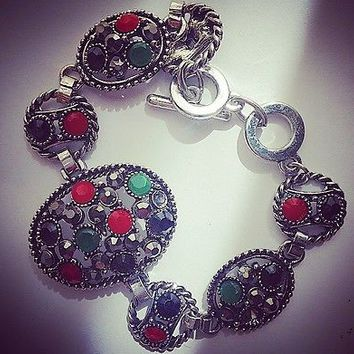 Pretty Silver Bracelet With Multi Colour Stones, Costume Jewellery.
