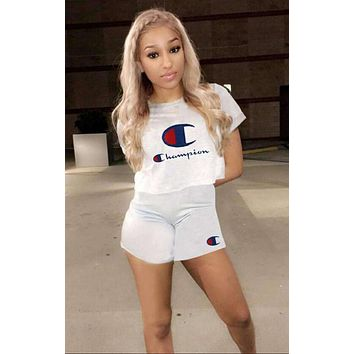 Champion Summer Popular Women Casual Print Short Sleeve Sport Gym Sweatpants Set Two-Piece Sportswear White I13582-1
