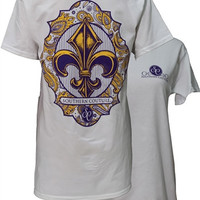 Southern Couture Purple & Gold Paisley Fleur De lis White Girlie Bright T Shirt
