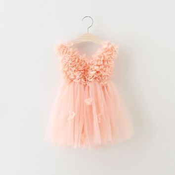 Sweet Girl Peach Flower Dress 2017 Girl Summer Lace Princess Tutu Dress Kids Girl Summer Dress for Birthday Baby Girl Clothes