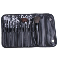 12 PCS Professioal Makeup Brush Set with Black Leather Case Cosmetic = 1644793796