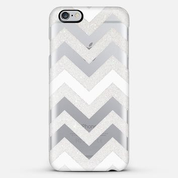 SILVER CHEVRON WHITE iPhone 6 plus Crystal Clear iPhone 6 Plus case by Monika Strigel | Casetify