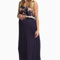 Navy Blue Floral Overlay Maternity Maxi Dress