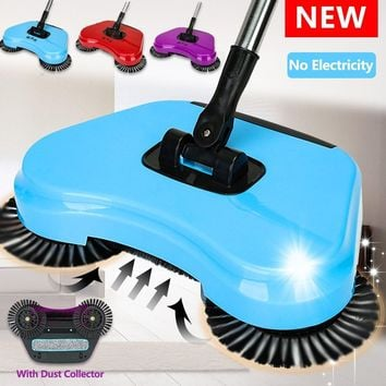 1 Set of Blue/Red/Purple Spin Hand Push Sweeper Broom Household Floor Cleaning Mop without Electricity for Home Office