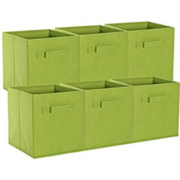Sorbus Foldable Storage Cube Basket Bin (6 Pack, Green)