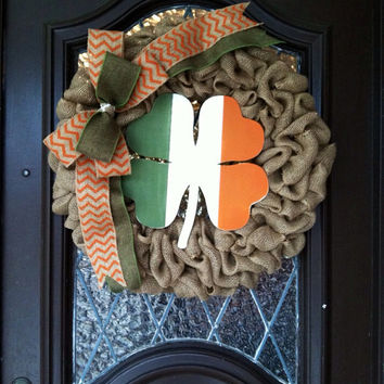 St Patricks Wreath, Burlap St. Patricks Wreath, Shamrock St. Patricks Wreath, St. Patricks Flag Decor, St. Patricks Decoration, Irish Wreath