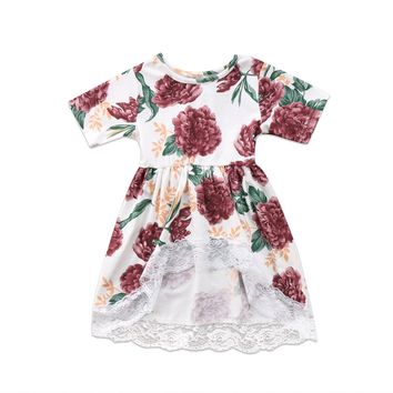 Newborn Kid Baby Girl Clothes Floral Lace Tail Dress Sleeve Flower Cute Mini Tutu Princess Prom Party Dresses Girls