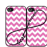 Pink Chevron Print Infinity Sign Best Friends Set Iphone 4 4s Case