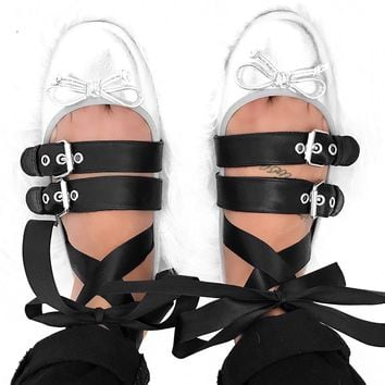 Lace-Up Metallic Ballet Flats