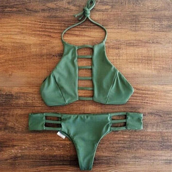 Army Green Hollow Out Bikini +Free Gift Summer Necklace