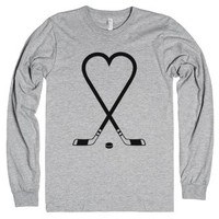Hockey Love-Unisex Heather Grey T-Shirt