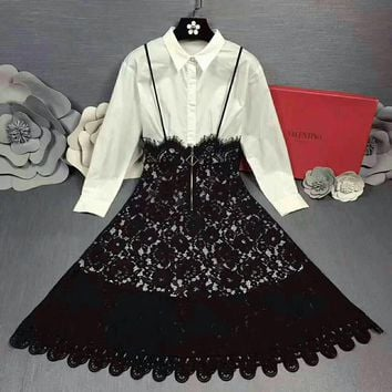 """""""Valentino"""" Women Temperament Fashion  Solid Color Long Sleeve Shirt Stitching Lace Back Strap High Waist Dress"""