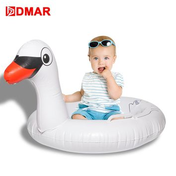 DMAR Inflatable  Swan pool  Giant Pool Float for Kids Swimming Ring Circle Baby Beach Mattress Sea Water Toys