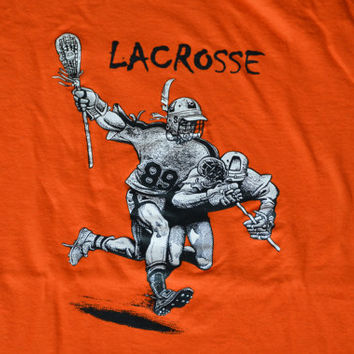 Vintage Orange Lacrosse T-Shirt - Retro Cotton Tee Size L Large