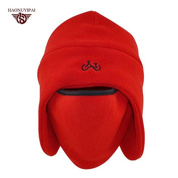 Winter Cotton Feelee Hats For Unisex Warmer Skullies Windproof Thermal Balaclava Mask Caps Outdoor Ear Beanies 4 Colors HE002