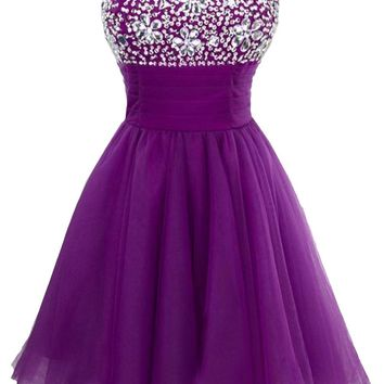 Sunvary Cute One Shoulder Rhinestone Homecoming Dresses Flower Girl Dress Short