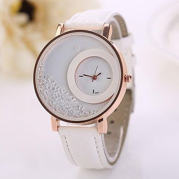 Montre Femme Watch Woman PU Leather Quicksand Rhinestone Quartz Watch Bracelet Watches Ladies Wristwatch Reloj Mujer