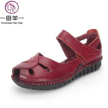 Summer Shoes Woman Genuine Leather Soft Outsole Open Toe Sandals Casual Flat Women Shoes 2017 New Fashion Women Sandals