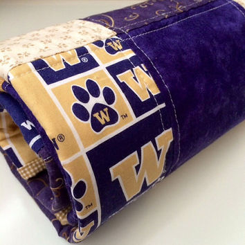 Baby Quilt, Modern, Purple and Gold, Washington Huskies, Handmade Baby Blanket, Patchwork, Lap Quilt, University, Washington