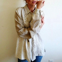 80s Embroidered Linen Tunic long sleeve Button down Vintage shirt blouse Organic womens M/L