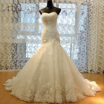 ADLN High Quality Lace Mermaid Wedding Dress 2018 Corset White/Ivory Flowers Bridal Gown Customized Vestidos de Novia Plus Size