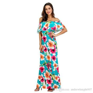 Women Boho Maxi Dress S-5XL Plus Size New Spring Summer Off Shoulder Ruffled Print Long Dresses Feminine Floor Length Gown DK0544BK