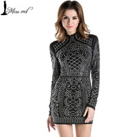 2017 sexy high geometric retro rhinestone collar long-sleeved bodycon dress party dress