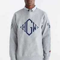 Heather Grey Wall X Mark McNairy Grey Monogram Crew Neck Sweater- Assorted Large