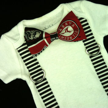 Boys Alabama Bow Tie Bodysuit with Suspenders -Boys Bow Tie Bodysuit-Football Team Bodysuit