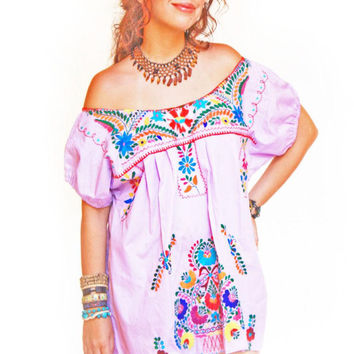Mexican embroidered mini dress Lilac Lavender Floral Bohemian embroidered tunic w hand embroidered belt