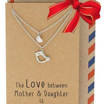 Arielle Mother Daughter Necklace with Bird Pendant, 2 Matching Necklace