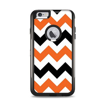 The Orange & Black Chevron Pattern Apple iPhone 6 Plus Otterbox Commuter Case Skin Set