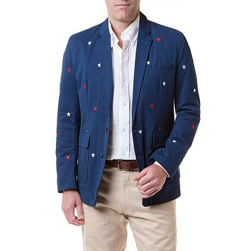 Spinnaker Blazer with Embroidered Red & White Stars by Castaway Clothing - FINAL SALE