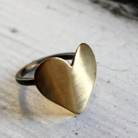 Large Brass Heart Ring with Sterling by RachelPfefferDesigns