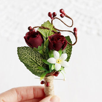 Marsala Boutonniere, Rustic Buttonhole, Groom Boutonniere, Men's Lapel Pin, Deep Red Boutonniere, Burgundy Rose Boutonniere, Country Groom