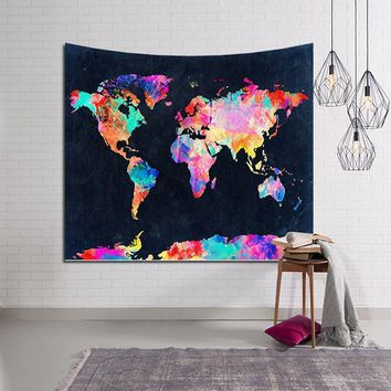 Wall Tapestries Thin   world map colorful Bedding  Decor Tapestry
