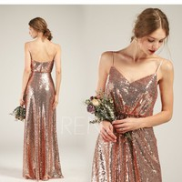 Party Dress Rose Gold Sequin Dress A-line Prom Dress Spaghetti Strap Maxi Dress Low Back Bridesmaid Dress Ruched V Neck Evening Dress(HQ582)