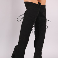 Bamboo Suede Back Corset Chunky Heeled Over-The-Knee Boots